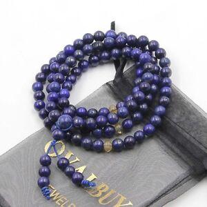 Tibet-Buddhist-Lapis-Lazuli-Gem-108-Prayer-Beads-Mala-Necklace