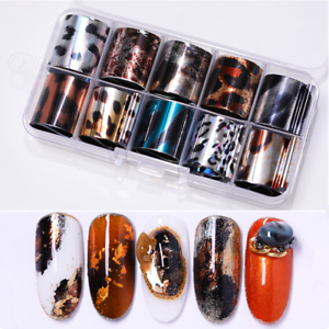 Details about 10 Rolls/Box Nail Foils Starry Sky Nail Art Transfer Stickers  Leopard Decals DIY