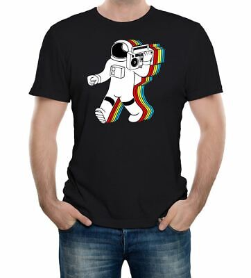 Selfie Astronaut Mens PRINTED T-SHIRT Moon Phone Stick Photograph Planets Space