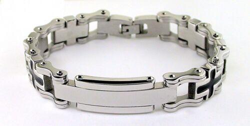 Two Tone Cross Bike Chain Stainless Steel ID Bracelet