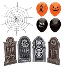HALLOWEEN SCARY DECORATIONS PARTY PACK  TOMBSTONES SPIDERS COBWEB BALLOONS (H11)
