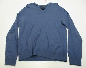 BANANA REPUBLIC Men Size M Extra Fine Merino Wool Blue V-neck Sweater
