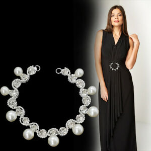 Silver-Rhinestone-Diamante-Pearl-Crystal-Sew-on-Chain-Applique-Motif-for-Party