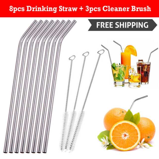 8Pcs Stainless Steel Metal Home Kitchen Drinking Straw with 3 Cleaner Brush Kit