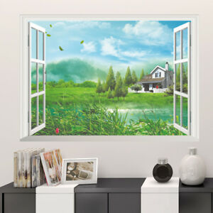 3D-Country-House-Room-Home-Decor-Removable-Wall-Stickers-Decals-Decoration