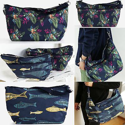 New Fashion FISH FLOWER Cross Shoulder Bag Travel Riding Handbag Cotton Unisex