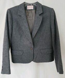 VTG-Pendleton-Womens-Gray-Petite-Wool-Blazer-Jacket-Size-8-Suit-Dress