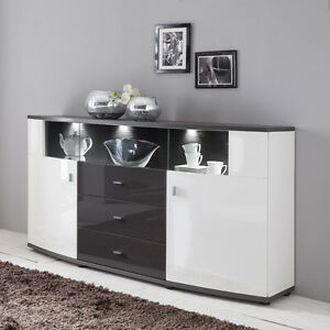 sideboard hochglanz wei graphit wohnzimmer schrank kommode anrichte vitrine led ebay. Black Bedroom Furniture Sets. Home Design Ideas