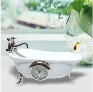 Miniature Clock Mini White Ceramic Clawfoot Bath Tub Gift Present Decoration