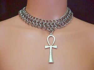 Details about Ankh Chainmaille Choker Pagan Isis Magic Chainmail Maille  Egyptian Wicca SCA