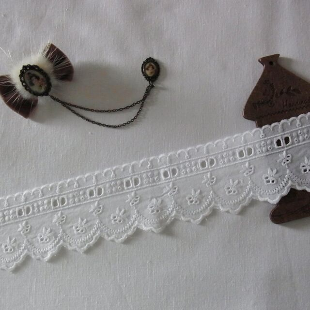 1Yard Embroidery Cotton Eyelet Lace Trim 5cm Wide Flowers White doll dress