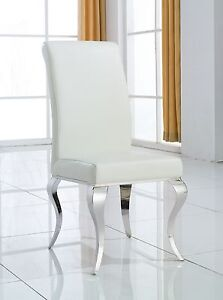 Modern chrome leg white leather dining chair designer for White leather and chrome dining chairs