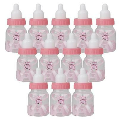 12Pcs Fillable Bottles for Baby Shower Favors Pink Girl Party Decorations