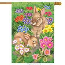 "Bunny Friends Easter House Flag Spring Floral Bunnies Briarwood Lane 28"" x 40"""