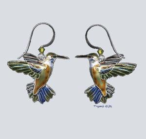 Bamboo Jewelry Schwarz Chinned Kolibri Cloisonne Ohrringe Sterling Swarovski