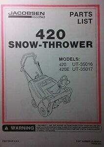 jacobsen snow blower parts manual 12pg thrower 420 420e ut 35016 rh ebay com jacobsen 320 snowblower manual jacobsen snowburst snowblower manual