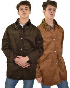 2630da906b22 Men s Dark Brown Tan Faux Suede Coat with Faux Fur Lining
