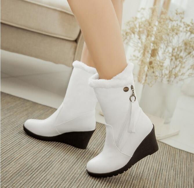 Women shoes Mid Wedge Heels Zip Fleece Lined Ankle Snow Boots Winter Warm Casual