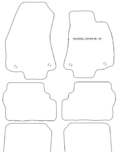 VAUXHALL ZAFIRA 1998-2005 BLACK CARPET MATS 6 PIECE FRONT CLIPS