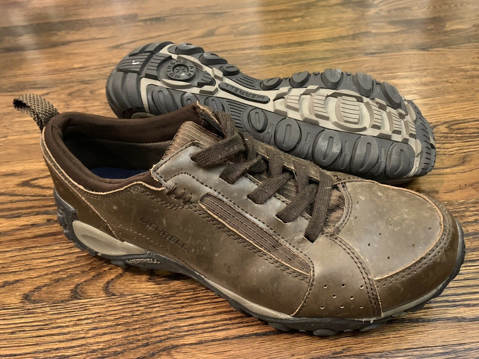 Men's MERRELL BELLOT Dark Earth Brown Leather Sneakers shoes Size 9.5