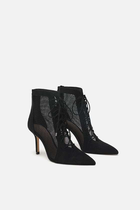 Zara Noir Maille à Lacets Bottines à talon talon talon aiguille 4 37 chaussons Talons Chaussures Kardashian 32d020