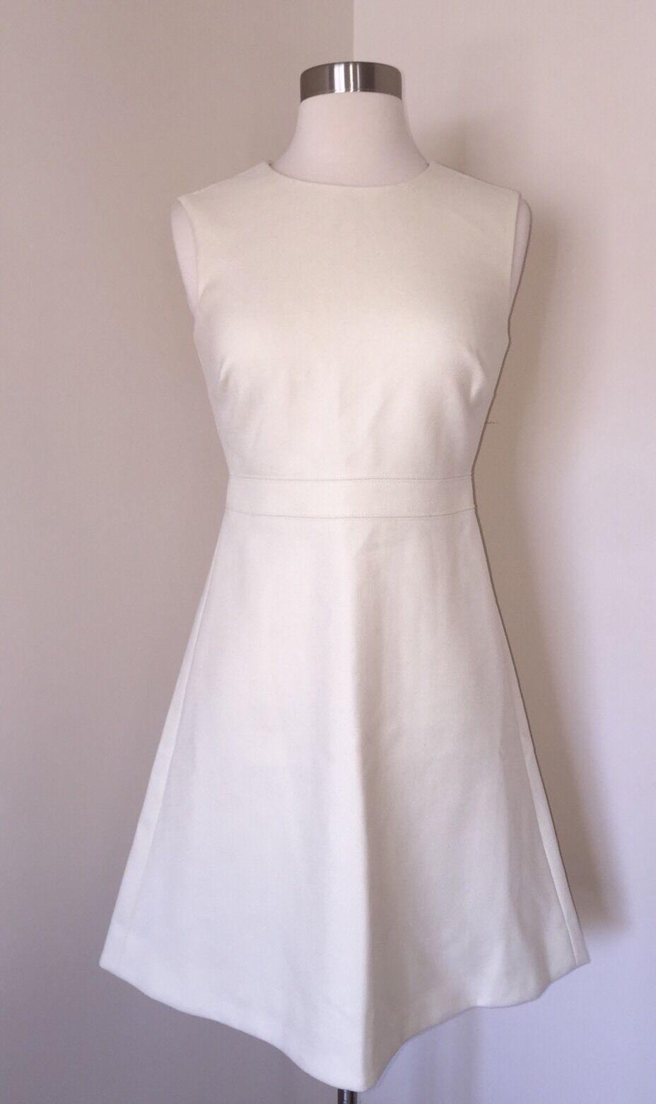 J.CREW  A-LINE DOUBLE SERGE WOOL SHEATH DRESS 0P IVORY G0527 NEW