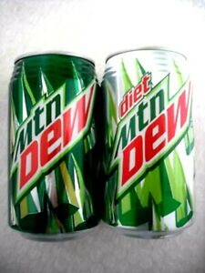 e446d5f16c18 Details about 2 FULL MTN MOUNTAIN DEW and DIET RIBBED NECK FROM HAWAII 12  oz Cans