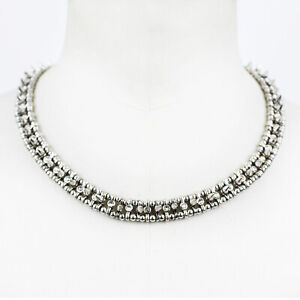Philippe-Audibert-Silver-Spiked-Crystal-Embellished-Collar-Necklace