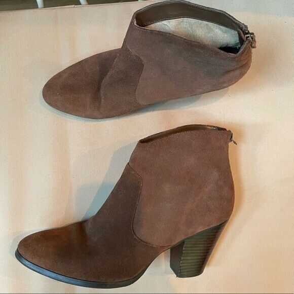 Tesori Leather Back Zip Bootie Brown Size 9