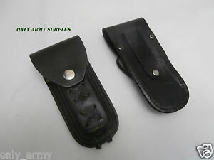 Genuine-Black-Leather-Knife-Pouch-With-Belt-Loop-Folding-6-034-Army-Vintage-Surplus