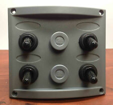 MARINE BOAT GREY 4 GANG IP65 SWITCH PANEL NEOPRENE CAPPED SWITCHES
