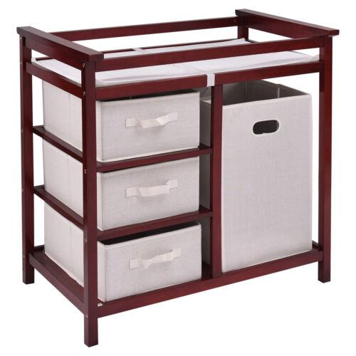 Infant Baby Changing Table Pad 3 Baskets Hamper Diaper Storage Nursery Station