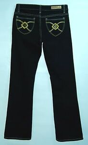 Contrast-Stitching-GOLD-POCKETS-Low-Boot-Cut-SOUTHPOLE-Black-Stretch-Jeans-5