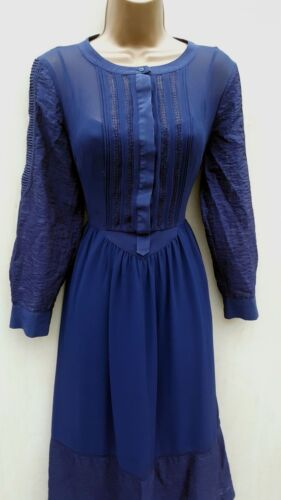 Pintuck Ltd Occasioni Millen Karen Uk Taglia Midi Dress Navy Lace Boho 10 wqxZfIO0