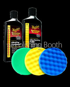 Meguiars M105 Compound & M205 Finishing Polish 8OZ 3M 150mm Pad Kit