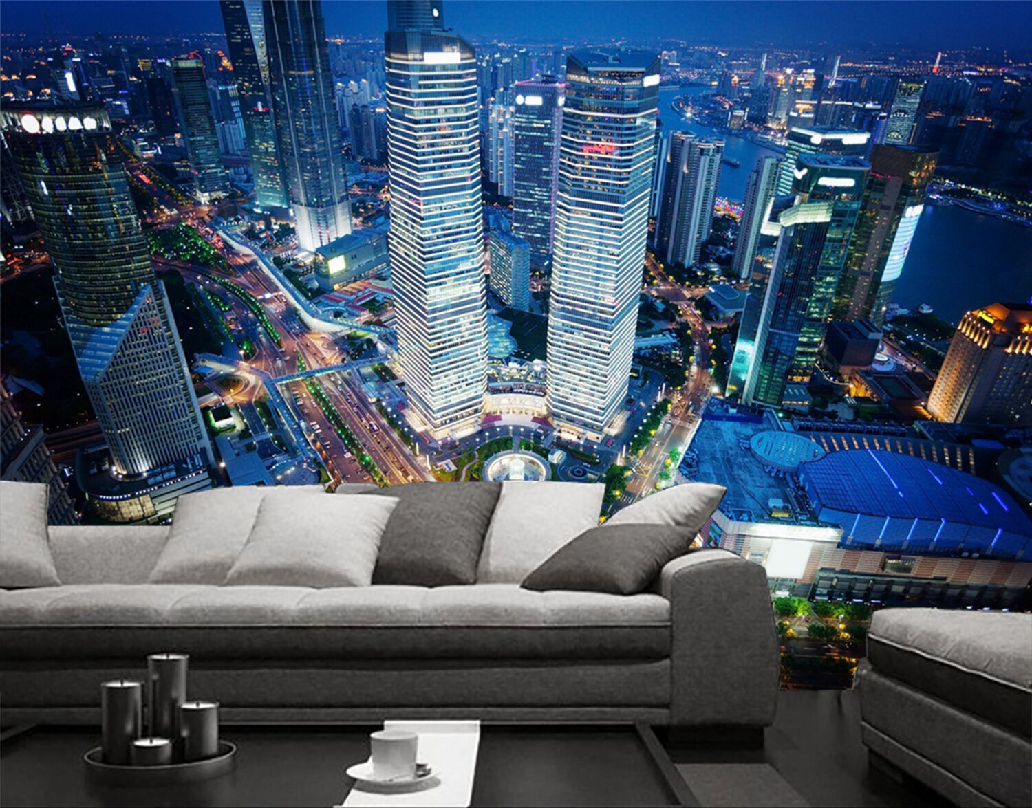3D Night View City 451 Wall Paper wall Print Decal Wall Deco Indoor wall Mural