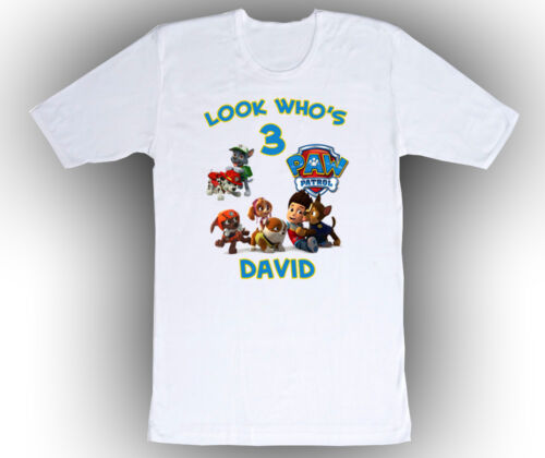 Paw Patrol Personalized Custom Birthday Shirt in 8 Different Colors