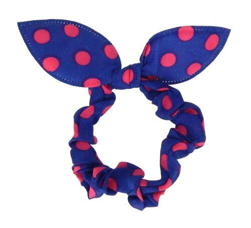 Haargummi Punkte Rockabilly Zopfband Schleife gepunktet Viskose rot blau schwarz