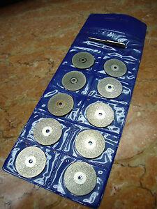 10-Tlg-45mm-Schmuck-Diamant-Glas-Metall-Trennscheibe-Schleifscheibe-fuer-Dremel