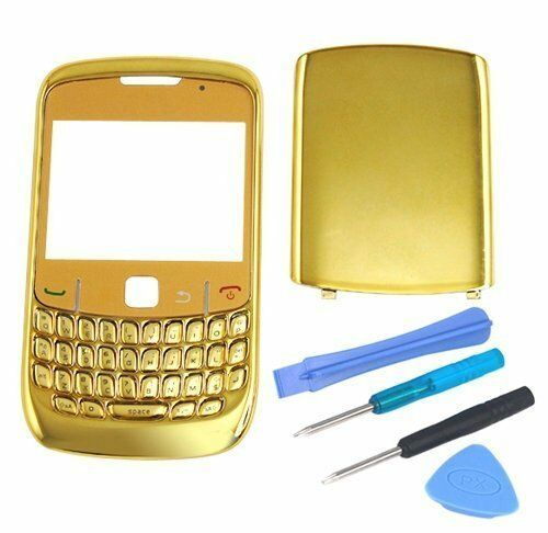 Gold Chrome Faceplate Housing Full Cover Case for Blackberry Curve 8520 Facia