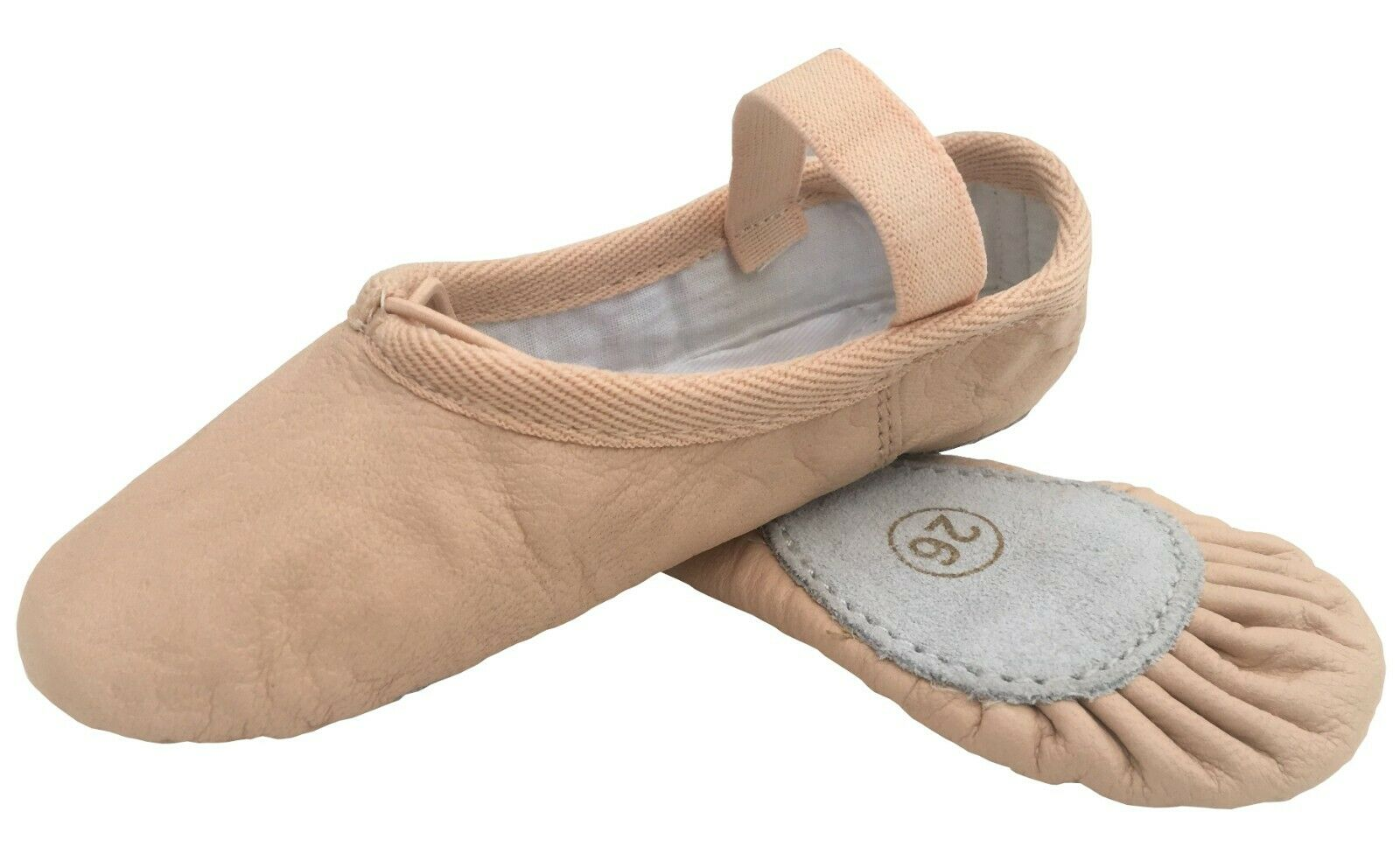Ballet Leather Shoes Pink Split Sole with Elastics