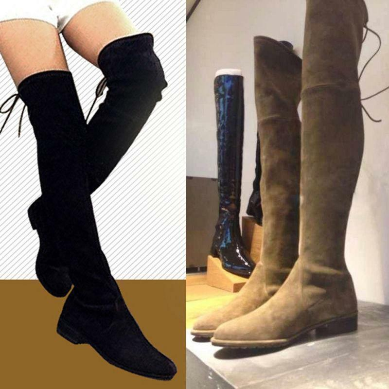 Women Cow Leather Over the Knee Flat Boots Slim Leg Thigh High Booties @TY32