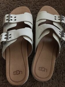 4e7f4279816 Details about UGG Women's Cammie White Patent Leather Platform Sandals-  Size 8