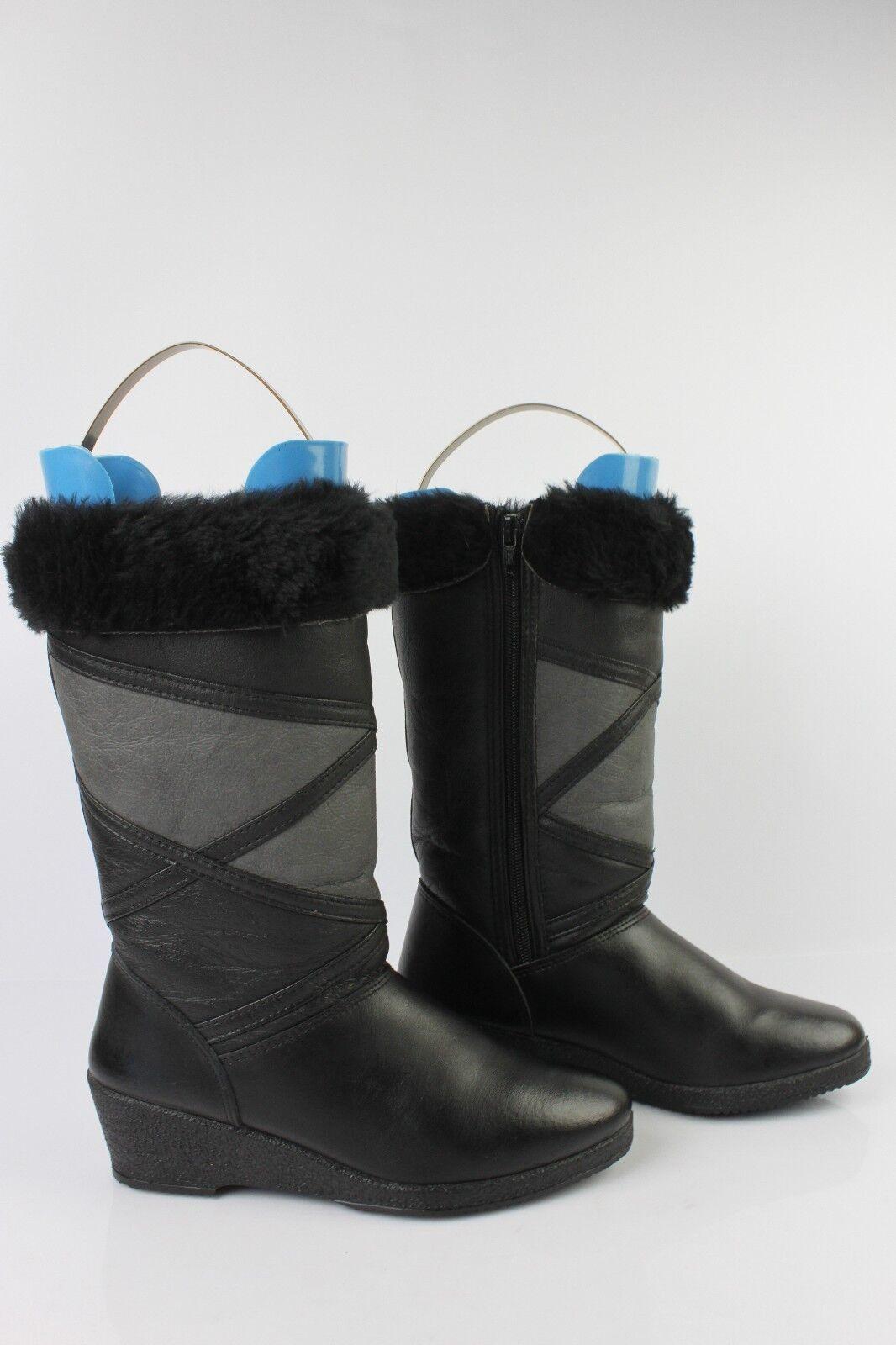 Gefütterte Stiefel Keilabsätze Leder Schwarz und Grau T 37 Seht Guter Zustand