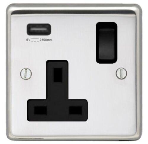 BLACK TRIM POLISHED STAINLESS STEEL SINGLE SOCKET OUTLET WITH SINGLE USB SOCKET