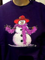 Purple Red Hat Society Ladies Snowwoman Sweatshirt Size Large Snowman