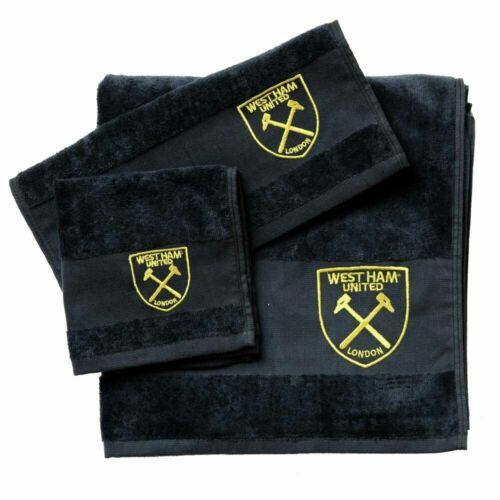 West Ham Serviette Set-Noir avec Gold Crest 3 pièces 100/% coton NEUF