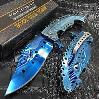 Tac Force Blue Titanium Coated Blade W/ Stamped Mermaid Design Fantasy Knife