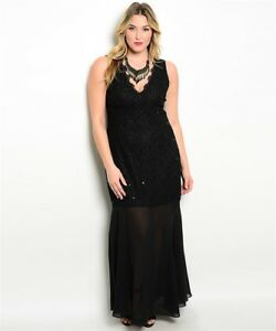 Details about Womens Plus Size Black Lace Sleeveless Evening Gown Maxi  Dress 3XL NWT