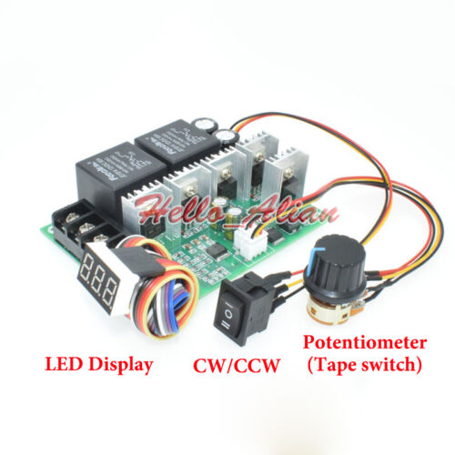 DC10V-55V 12V 24V 48V 60A PWM DC Motor Speed Controller CW CCW Reversible Switch